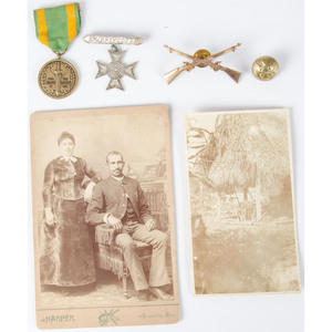 Cabinet Card of an African American Soldier from the Spanish American War, Plus His Badges, Insignia, and More