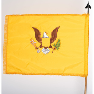 Yellow Flag with Embroidered Patriotic Eagle