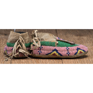 Plains Child's Beaded Hide Leggings and Moccasins, From the Stanley B. Slocum Collection, Minnesota