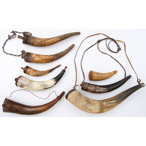 Large Group of Powder Horns and Powder measures