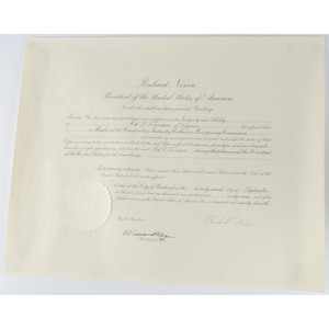 Richard Nixon Presidential Signed Appointment, 1969