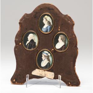 American or English School, Four Portrait Miniatures