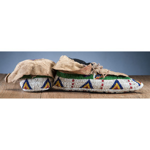 Sioux Fully Beaded Hide Moccasins, From the Stanley B. Slocum Collection, Minnesota
