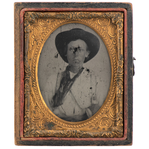 Ninth plate Ruby Ambrotype of Possible Confederate Vivandière, Accompanied by Photograph of Confederate Volunteers Showing Possible Relative