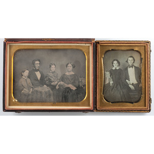 Assorted Daguerreotypes and Ambrotype of Parents with Children, Incl.  Half Plate Daguerreotype of a Family by Fontayne & Porter