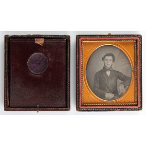 Sixth Plate Monocular Magnifying Case with Daguerreotype Portrait of a Young Man