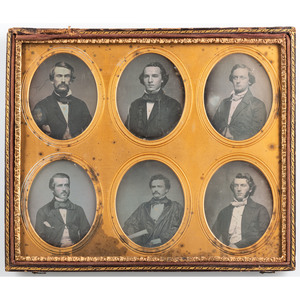 Composite Daguerreotype Portrait of Young Men Representing a Southern Men's College Fraternity, Incl. One Wearing Secession Cockade