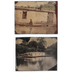 Two Half Plate Tintypes of Riverboat Scenes, Possibly Licking River