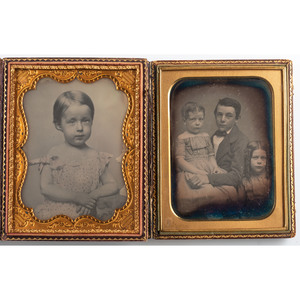 Pair of Precious Half Plate Daguerreotypes of Young Children