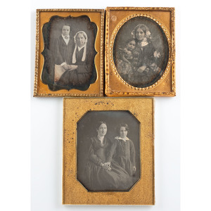 Five Intimate Quarter Plate Daguerreotypes of Mothers and Their Children by Jacobs of New Orleans