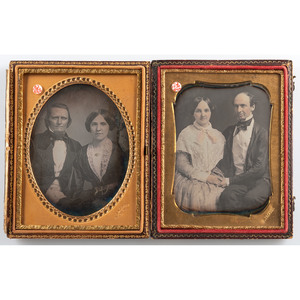 New Orleans Photographer E. Jacobs, Pair of Quarter Plate Daguerreotypes of Couples