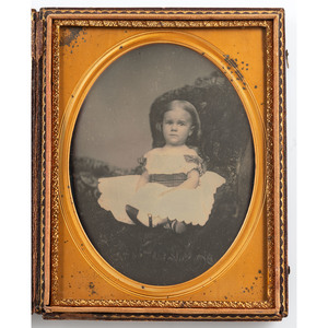 Half Plate Daguerreotype of a Sweet Little Girl with a Plaid Sash, Possibly by Lorenzo Chase