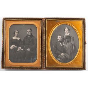 Fine Pair of Half Plate Daguerreotypes of Couples by Gurney