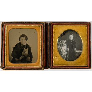 Sixth Plate Daguerreotype and Ambrotype Portraits of Boys with Cats