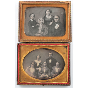 Daguerreotype Group Portraiture, Lot of Five Images Including Three Half Plates