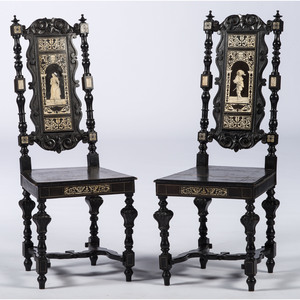 A Pair of Italian Ebonized and Inlaid Chairs