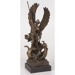 A Bronze Archangel Michael Statue