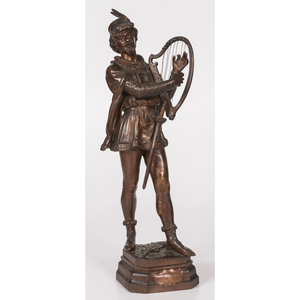 A Bronze Barde Statue After Jean Didier Debut (French, 1824-1893)