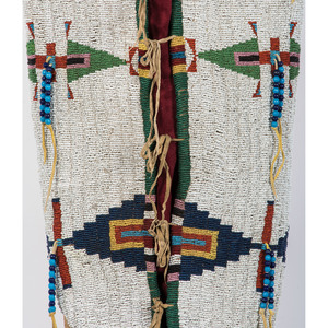 Cheyenne Child's Beaded Cradleboard, with Photograph