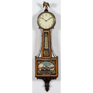 A Waltham Banjo Clock with Consitution & Guerriere Motif