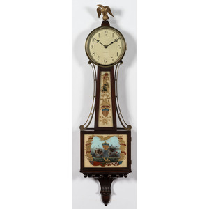 A Waltham Banjo Clock with Lake Perry's Erie Victory Motif
