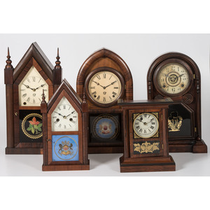 A Group of E.N Welsch and S.C. Springs Mantel Clocks