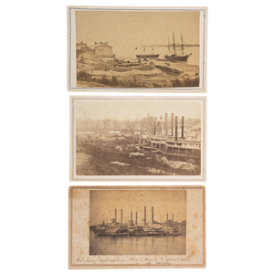 Three Panoramic CDVs of Riverine Vessels, Incl. USS General Lyon