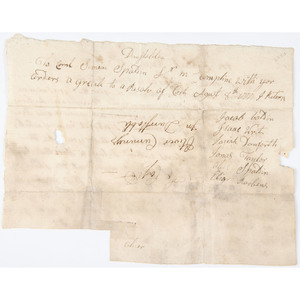 Revolutionary War-Era Documents Signed by Generals James Warren and Jedediah Huntington