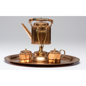 A Jos. Heinrichs Four-Piece Bronze and Silver Tea Service