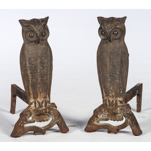 A Pair of Cast Iron Owl Andirons