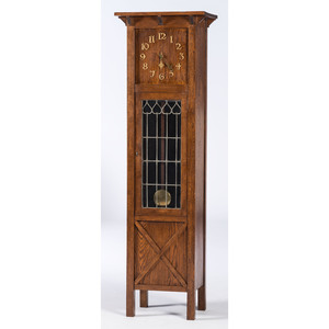 An Oak Arts and Crafts Tall Case Clock