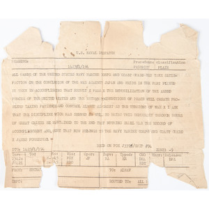 World War II, Original Naval Dispatch Announcing Victory in Japan, August 15, 1945