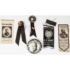 Assorted Memorial Ribbons and Pinbacks, Including Presidential Mourning Pieces from Lincoln to Kennedy, Plus, Lot of 12