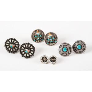Frank Vacit (Zuni, 1915-1999) Attributed, Mosaic Inlay Silver Earrings PLUS