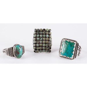 Navajo and Zuni Silver and Turquoise Rings, Blue Gem