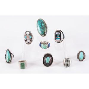 Navajo and Zuni Silver and Inlay Rings