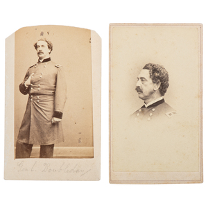 Two CDVs of General Abner Doubleday, Distinguished by Service at Fort Sumter and Gettysburg