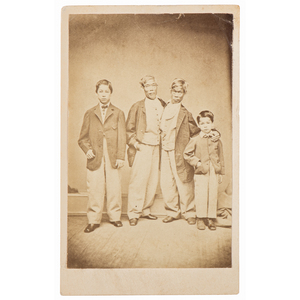 CDV of Conjoined Twins Chang & Eng Bunker with Sons, Posed with Their Children, ca Late 1860s