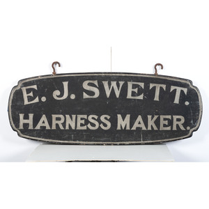 A Double-Sided Stenciled Wood Harness Maker Trade Sign