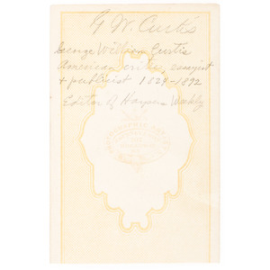 George M. Curtis, Social Reformer and Editor of Harper's Weekly, Signed CDV by Gurney & Sons