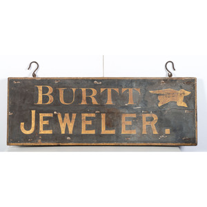 A Double Sided Stenciled Wood Jeweler's Trade Sign