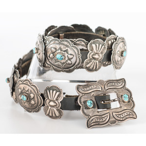 Harry Morgan (Dine, 1946-2007) Navajo Sterling Silver and Turquoise Concha Belt