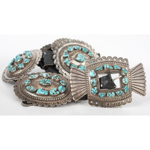Heavy Navajo Silver and Turquoise Nugget Concha Belt