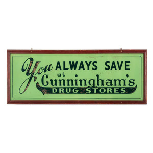 A Reverse Painted Glass Drug Store Advertising Sign