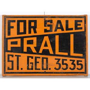 A Painted Wood 'For Sale' Sign by Ithaca Sign Works