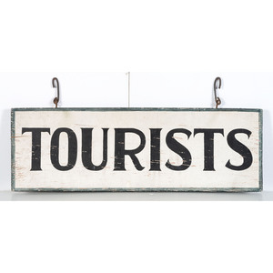 A Painted Wood Double Sided 'Tourists' Sign