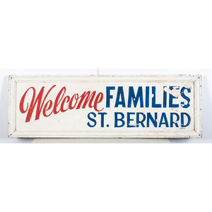 A Painted Wood St. Bernard 'Welcome' Sign