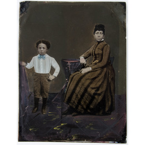 Full Plate Hand-Painted Tintype of an African American Mother and Child
