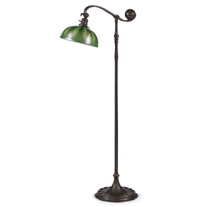A Tiffany Favrile Glass & Bronze Floor Lamp
