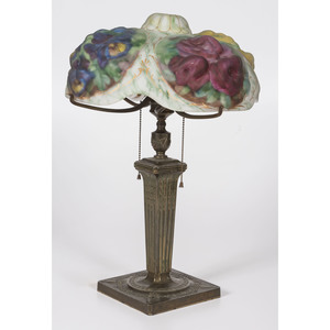 A Pairpoint Puffy Reverse-Painted Glass Table Lamp